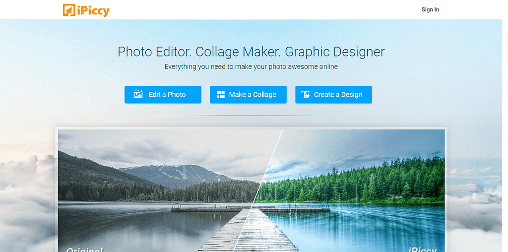 ipiccy - best online photo editor websites & tools